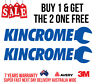 2 x KINCROME DECALS, STICKERS, FOR TOOLS, MECHANIC, CARS, UTES, BOATS, 4WD, FISH