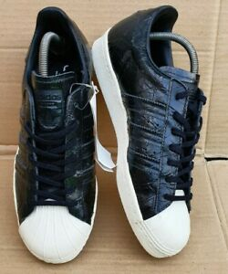 BNWT ADIDAS SUPERSTAR 80'S TRAINERS BLACK PATENT CROC EFFECT IN SIZE 7 UK NEW