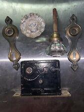 Antique Mortise Lock Set ~ 12 pt Glass Door Knobs, Escutcheons and Screws