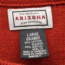 Mens Arizona Jeans Large L Red Striped Pullover Sweater Crewneck Long Sleeve EUC
