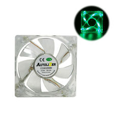 Green Quad 4-LED Neon Light Quite Clear 80mm PC Computer Case Cooling Fan Mod