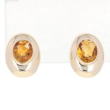 Yellow Gold Citrine Earrings - 14k Oval Cut 4.80ctw Pierced Stud