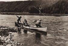 1925 Original Print CANADA ~ Fly Fishing Canoe Landscape New Brunswick River Art