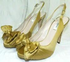 LK Bennett Gold Satin Peep Toe Jewelled Heel Sling  Back Shoes Size 3 Wedding