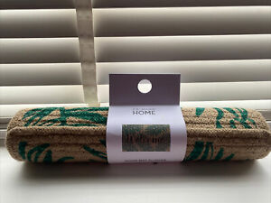 Primark Black WELCOME green Leaf Spot Door Mat Natural Jute Doormat