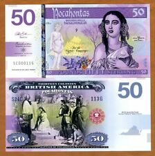 British America, 50 Pounds, Private Issue Polymer, 2019 > Pocahontas
