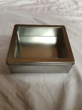 Rectangular Clear Top Metal Tin Storage Container Box NEW