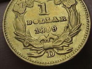 1859 D $1 Gold Liberty Head One Dollar Coin- Rare Dahlonega Coin
