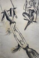 Charlotte Zurek 1910-1971 Im Zirkus Frauen am Trapez Expressiv 59 x 42 cm