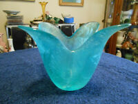 "Beautiful teal, hand stretched, frosted glass, tulip vase . 5"" tall x 6 1/2 wide"