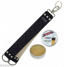 LEATHER STROP STRAP BELT SHARPENING STRAIGHT CUT THROAT SHAVING RAZOR + PASTE