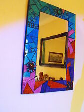 Chic Modern Moroccan style Glass Square Mosaic Frame Mirror multi coloured new #