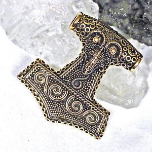 Wikinger Thorhammer Mjölnir Schonenhammer Bronze  4,4x4cm Odin Thor hinten offen