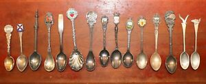 LOT of 15 Souvenir Spoons 2 Sterling Silver