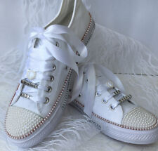 BN Custom Converse White Pearl Style Bling Personalised Prom Wedding Shoes!