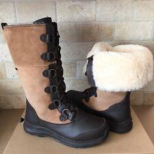 UGG Atlason Chestnut Waterproof Leather Cuff Tall Rain Snow Boots Size 10 Women