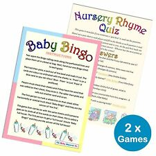 BABY SHOWER 2 GAMES PACK -Bingo & Nursery Rhyme Quiz 20 Players, Unisex Boy Girl