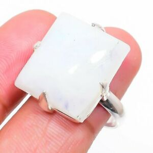 Rainbow Moonstone Gemstone 925 Sterling Silver Jewelry Ring Size 6.5 M651