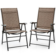 Patiojoy 2PCS Outdoor Patio Folding Chair Camping Portable Lawn Garden W/Armrest