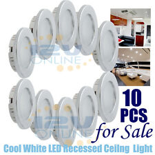 10PCS 12V 70MM LED Recessed Ceiling Light RV Boat Under Cabinet Downlight Cool W