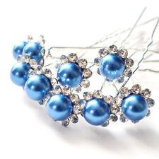 5 10 20 50 Sparkly Silver Diamante Pearl Hair Pins Bridal Wedding Party Prom