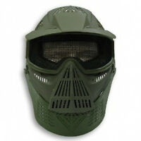 2604M Airsoft Paintball Full Face Mesh Mask w/ Visor & Neck Protection GREEN