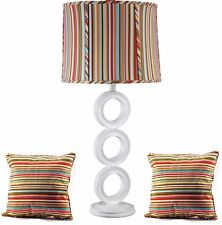 White Circle Table Lamp and Striped Shade with 2 Matching Pillows, Combo