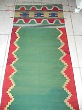 "Vintage Anatolian Slit-Weave Kilim Boca Estate Turkish Wool Runner Rug 113"" x31"""