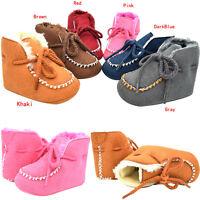 Newborn Baby Boy Girl Snow Boots Soft Sole Pram Fur Lined Winter Warm Crib Shoes