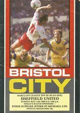 Football Programme Bristol City v Sheffield United - Div 3 Play-Off - 15/5/1988