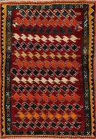 Geometric Gabbeh Oriental Area Rug Wool Hand-Knotted 4x6 Home Decor Carpet
