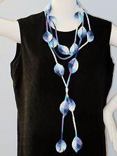 New Handmade Crochet Purple Leaves Scarf Necklace Lariat