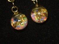 FLOATING FIERY 14K GOLD FLAKES AND FLOATING OPALS SNOW GLOBE  EARRINGS