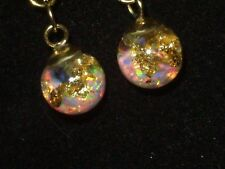 Floating Opals Snow Globe Earrings Floating Fiery 14K Gold Flakes And