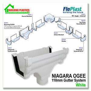 FLOPLAST NIAGARA OGEE GUTTER & FITTINGS WHITE   110mm NIAGARA GUTTER SYSTEM