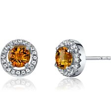 14K White Gold Citrine Halo Earrings Round Checkerboard Cut 0.75 ct