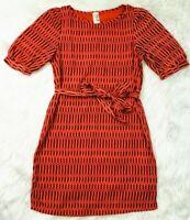 Anthropologie Birdcage Orange Printed Dress Belted Sz Small