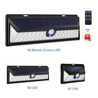 42/92LED Solar Powered Wall Light Outdoor Motion Sensor Night Security Wall Lamp