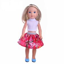 """Doll Clothes 14.5"""" Skirt Pink Floral Top Fit 14.5 Inch Ag Wellie Wishers Doll"""