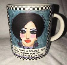 """Bad Girl Art Mugs Polly Lu """"Double Soy Vodka Mocha Martini Latte Grande Please"""""""