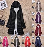 Womens Ultralight Long 90% Down Jacket Puffer Coat Hooded Parka Female Jackets