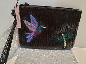 Victoria Secret Wristlet Black Sequins Hummingbird NWT Pouch