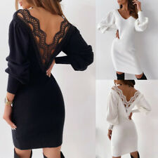 Womens Sexy Backless Knitted Jumper Dress Lady V Neck Party Bodycon Midi Dresses