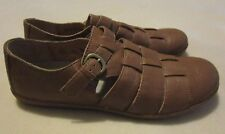 """Born """"Marit"""" Brown Leather Fisherman Flat Slip-On Loafers w/Buckle - Size 9.5 M"""