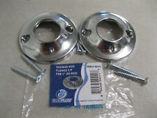 """BRAND NEW SHOWER CURTAIN ROD FLANGES WITH SCREWS FOR 1""""~SET OF 2~CHROME PLATED"""