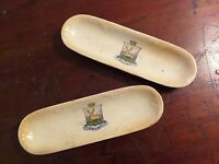 Collectable Vintage Pair Of Derby Crackling Glaze Pot Trays