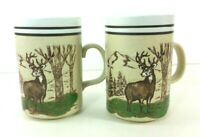 Deer In The Woods Coffee Cup Mug Etched Design Stoneware Hunting Set of Two