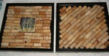 """(2) LARGE WINE CORK WALL ART 13"""" x 13"""" Glass  Shadow Boxes Framed Hanging Bar"""