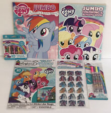 6 My Little Pony Jumbo Coloring Activity Books Crayons Stickers Glitter Gel Pens
