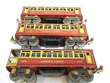 Lionel 1690, 1690, 1691 Pass cars Litho Red Brown Prewar O Gauge X4566
